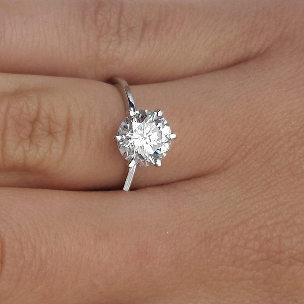 2.25 Carat Round Cut Diamond Engagement Ring 14K White Gold