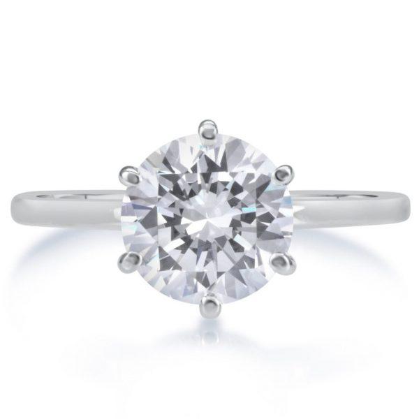 2.25 Carat Round Cut Diamond Engagement Ring 14K White Gold 4