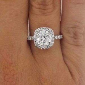 2.25 Carat Round Cut Diamond Engagement Ring 18K White Gold