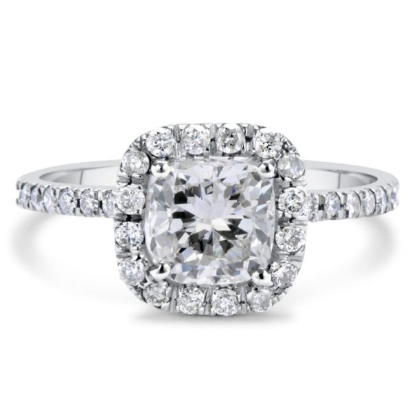 2.28 Carat Cushion Cut Diamond Engagement Ring 14K White Gold