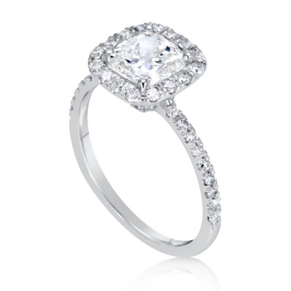 2.28 Ct Cushion Cut DSi1 Halo Diamond Solitaire Engagement Ring 14K White Gold 2