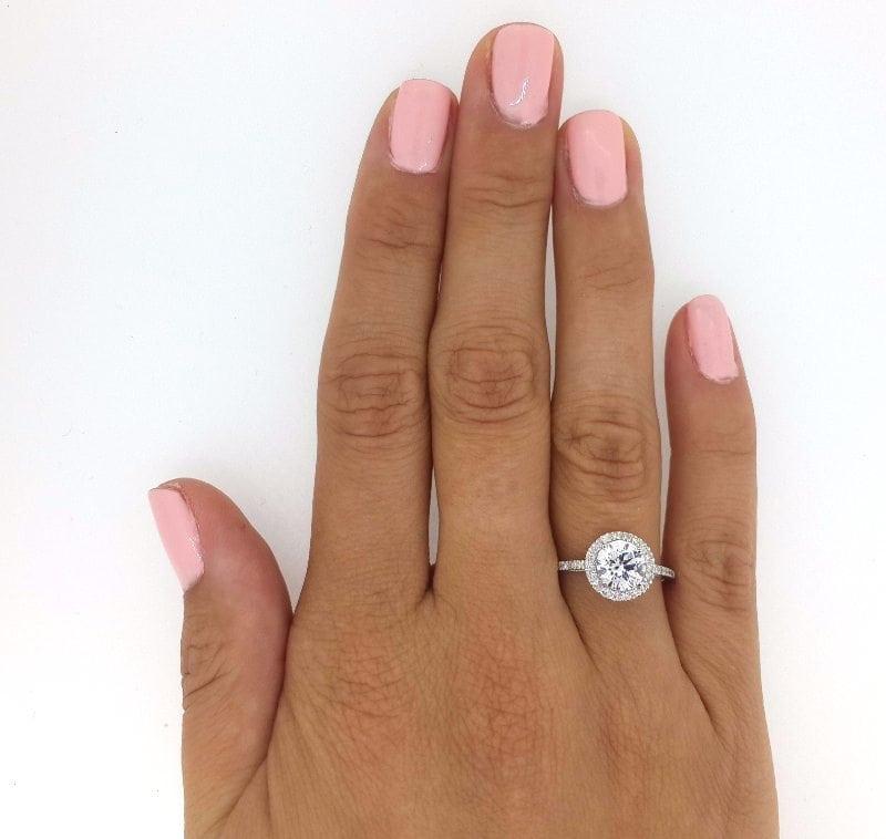 2.3 Carat Round Cut Diamond Engagement Ring 14K White Gold 2