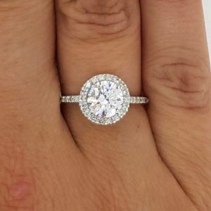 2.3 Carat Round Cut Diamond Engagement Ring 18K White Gold