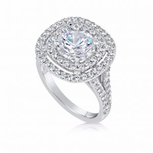 2.32 Carat Round Cut Diamond Engagement Ring 14K White Gold