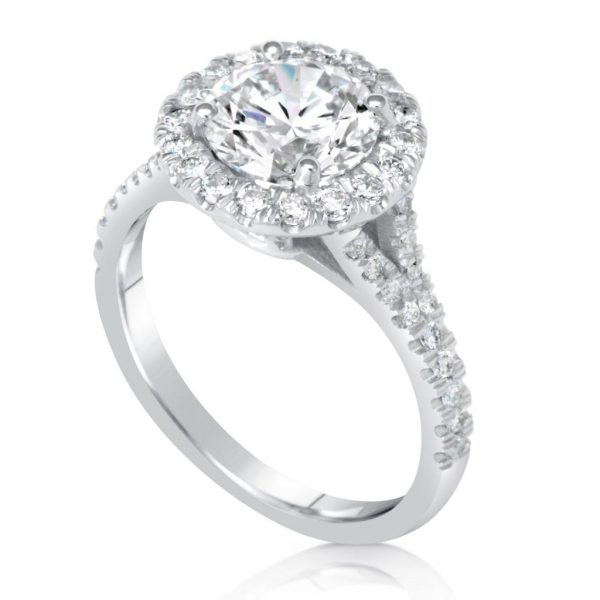 2.40 Ct Round Cut Diamond Solitaire Engagement Ring 14K White Gold