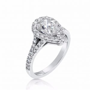 2.5 Carat Pear Cut Diamond Engagement Ring 18K White Gold