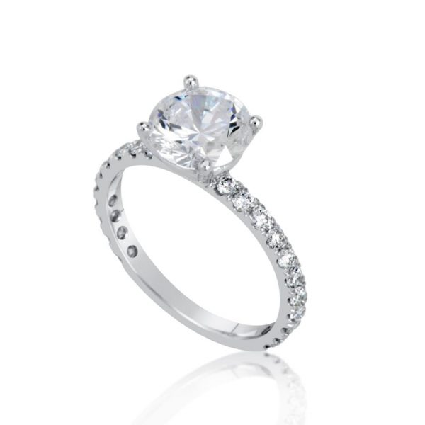 2.5 Carat Round Cut Diamond Engagement Ring 14K White Gold 3