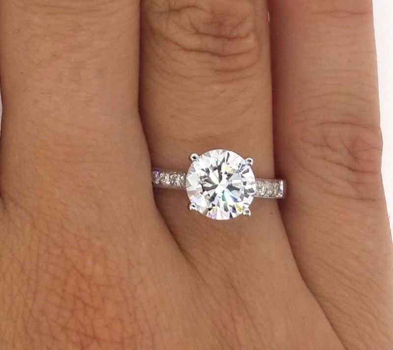 2.5 Carat Round Cut Diamond Engagement Ring 18K White Gold
