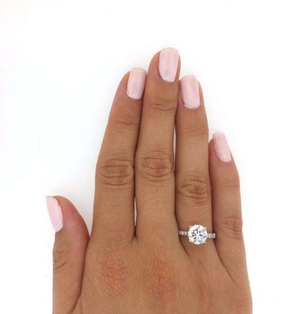 2.5 Carat Round Cut Diamond Engagement Ring 18K White Gold 3