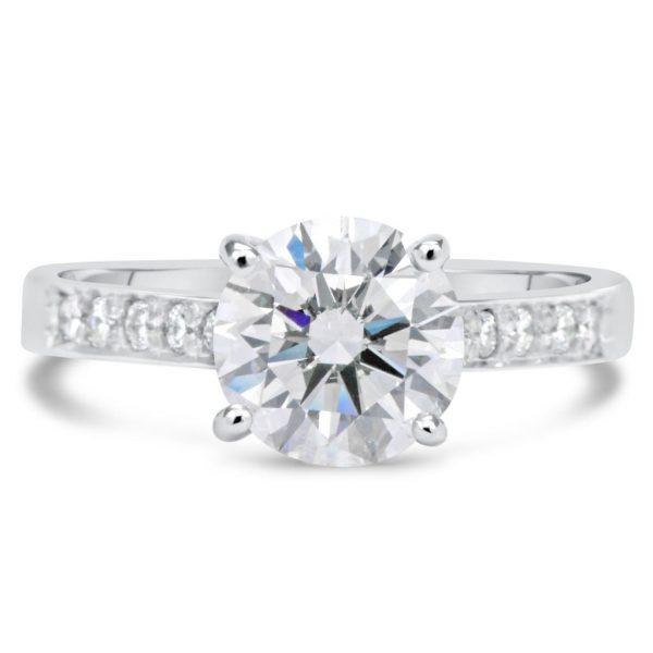 2.5 Carat Round Cut Diamond Engagement Ring 18K White Gold 4