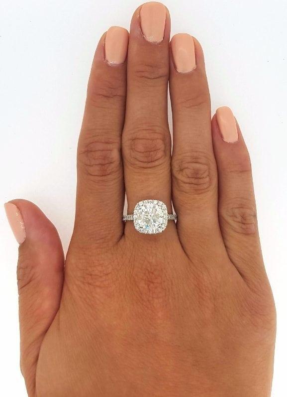2.50 Ct Round Cut Diamond Halo Engagement Ring Enhanced 14K White Gold 3