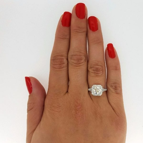 2.50 Ct Round Cut FVs2 Radiant Halo Diamond Solitaire Engagement Ring 18K Gold 2