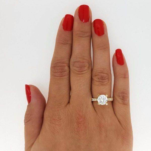 2.52 Carat Round Cut Diamond Engagement Ring 14K Yellow Gold 2