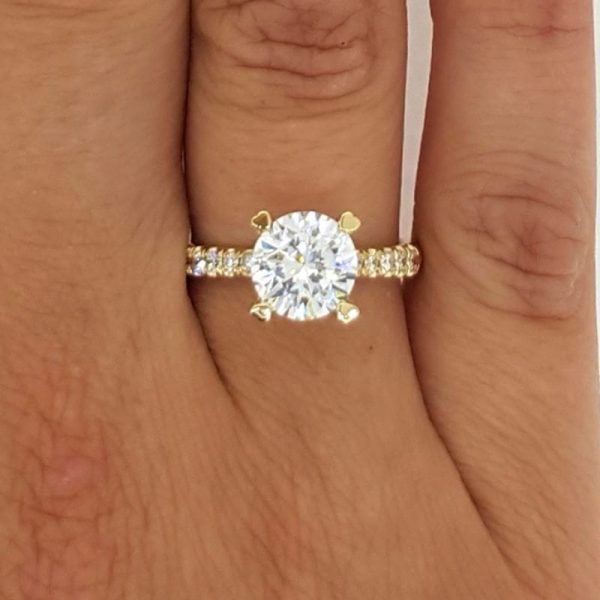 2.52 Carat Round Cut Diamond Engagement Ring 14K Yellow Gold
