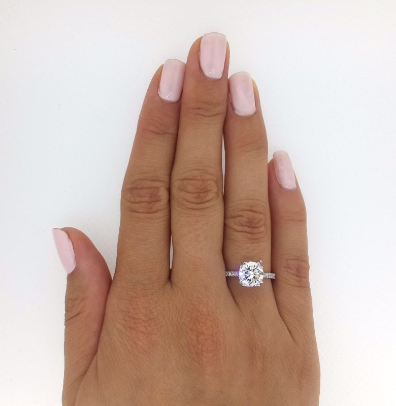 2.52 Ct Round Cut DSi1 Diamond Solitaire Engagement Ring 14K White Gold 2