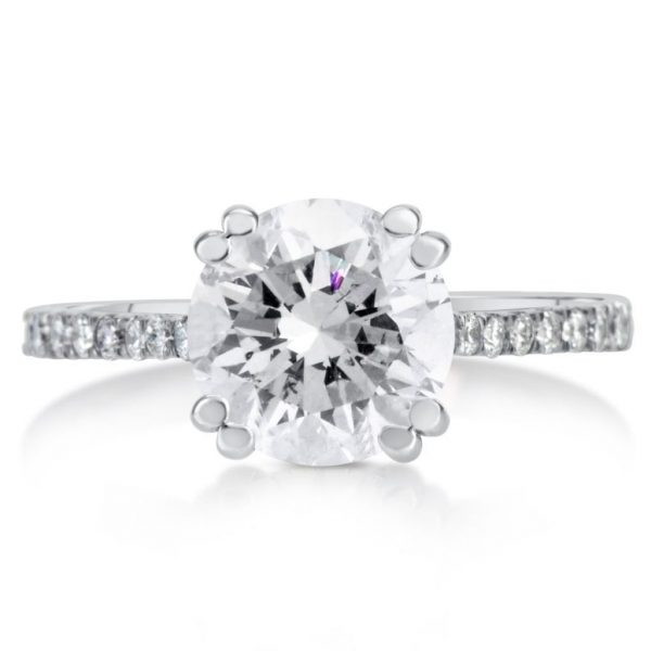 2.52 Ct Round Cut DSi1 Diamond Solitaire Engagement Ring 14K White Gold