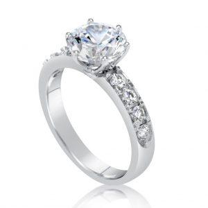 2.7 carat round cut diamond engagement ring