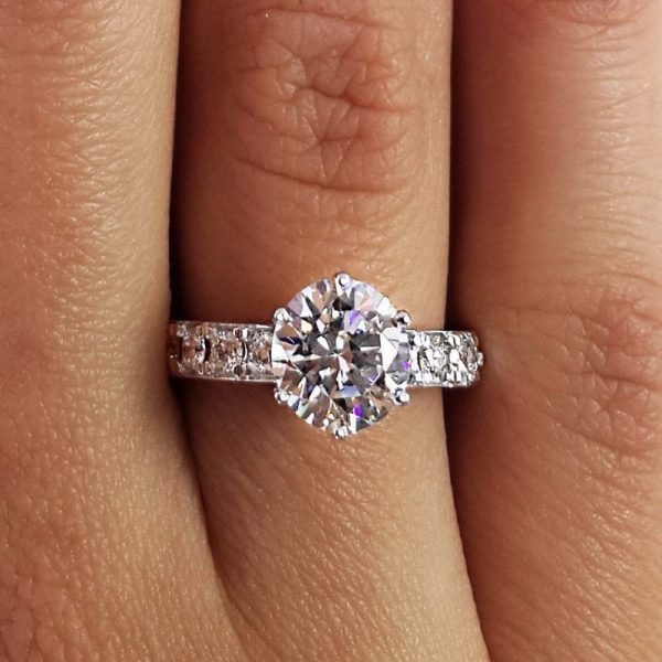 2.7 Carat Round Cut Diamond Engagement Ring 14K White Gold