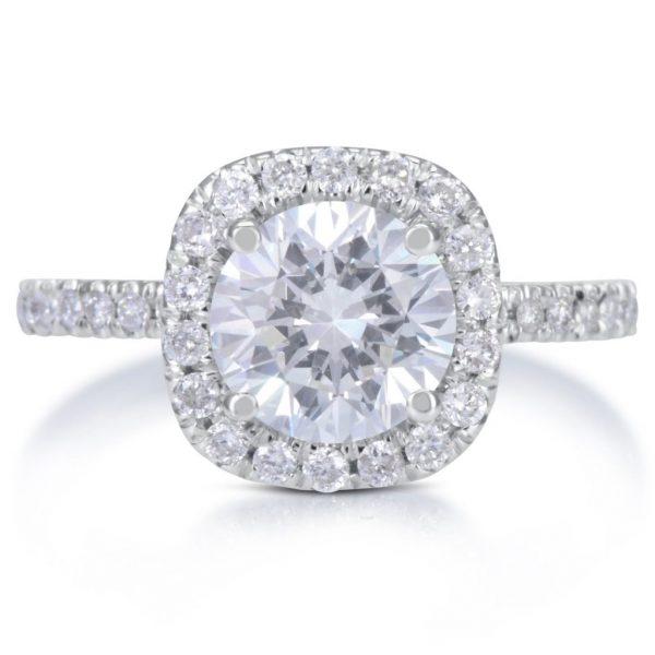 2.78 Carat Round Cut Diamond Engagement Ring 14K White Gold 2