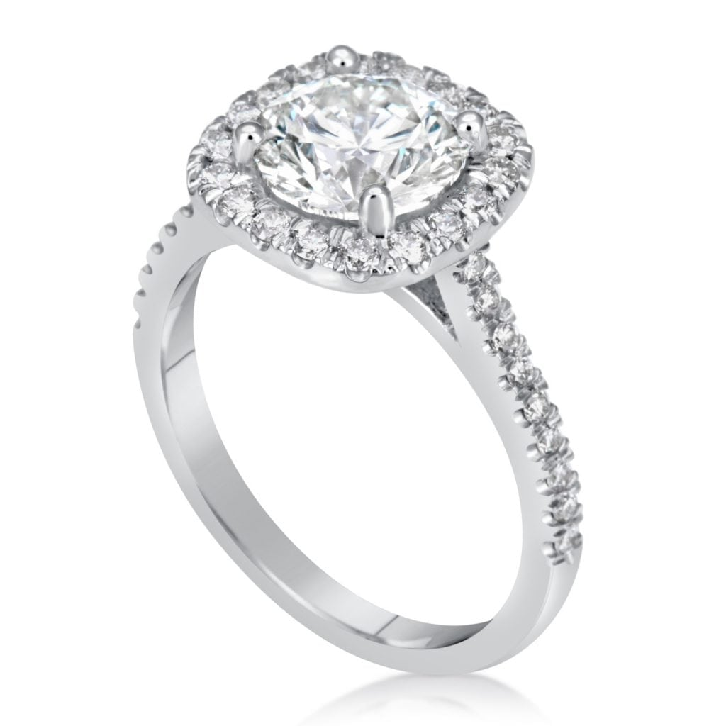 2.78 Carat Round Cut Diamond Engagement Ring 14K White Gold