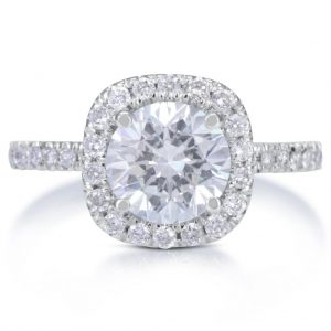 2.78 Ct Round Cut D/Si1 Diamond Halo Solitaire Engagement Ring 14K White Gold