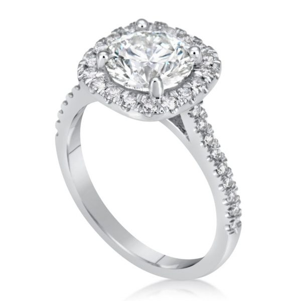 2.78 Ct Round Cut DSi1 Diamond Halo Solitaire Engagement Ring 14K White Gold 3
