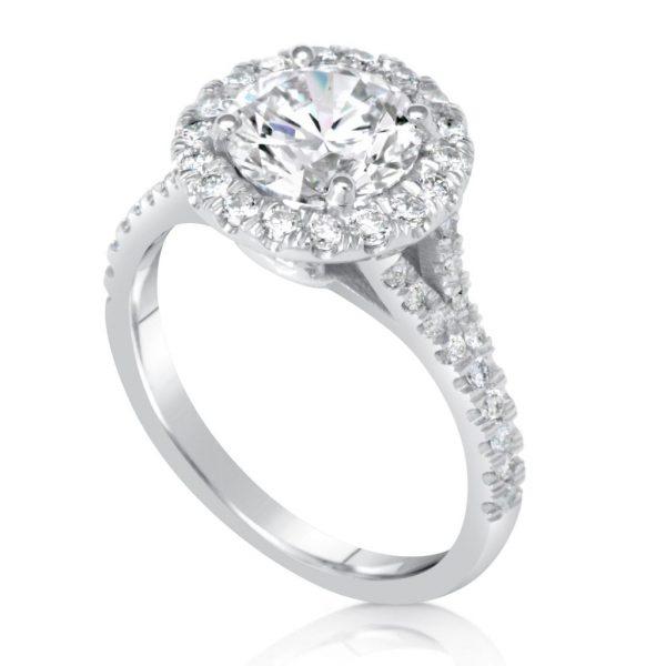 2.85 Carat Round Cut Diamond Engagement Ring 14K White Gold