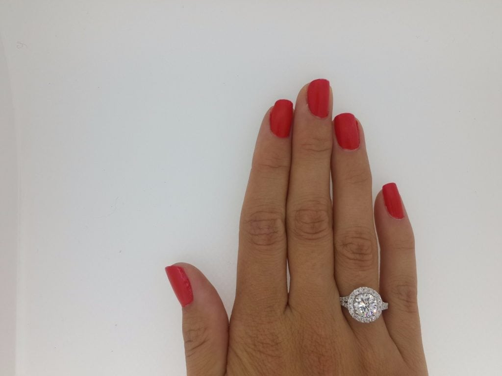 2.85 Ct Round Cut D Vs Diamond Solitaire Engagement Ring 18K White Gold 3