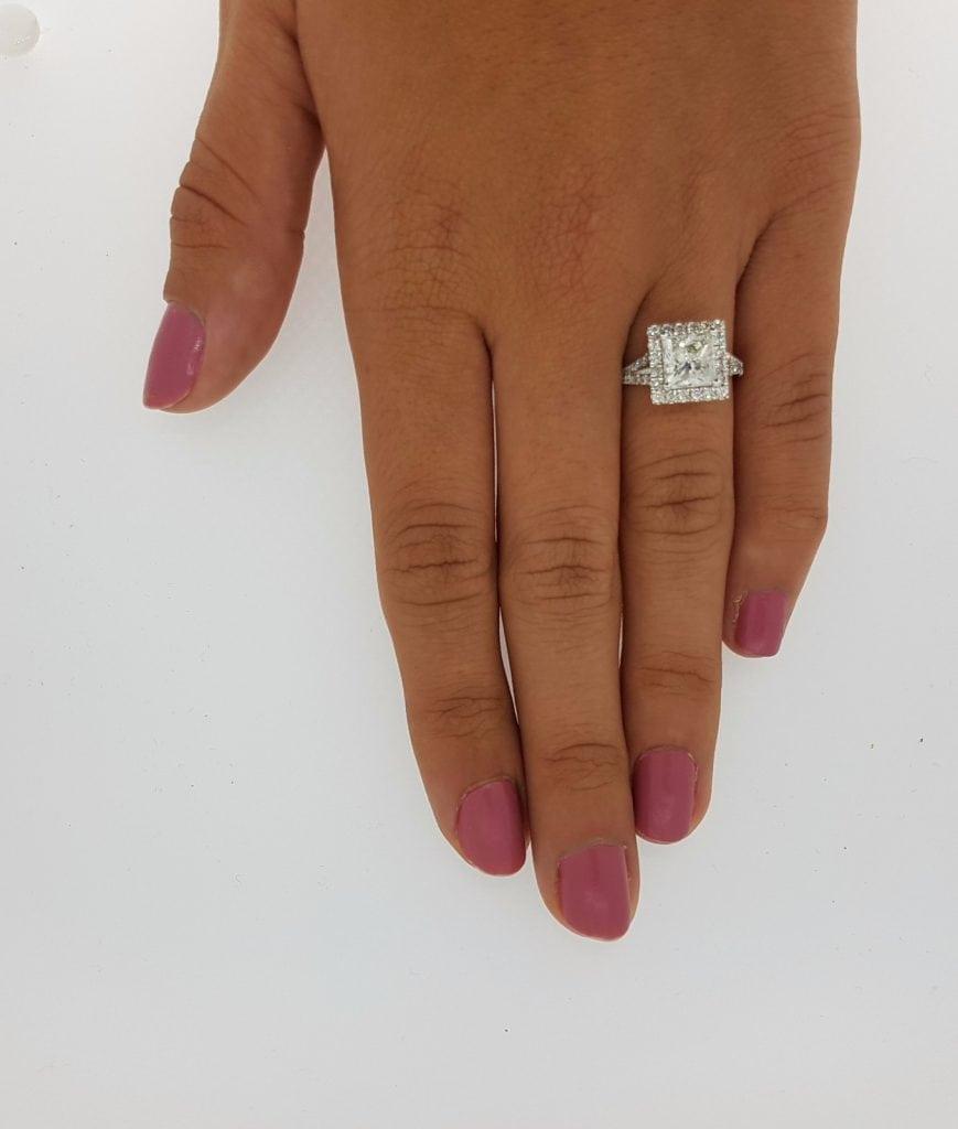 3 Carat Princess Cut Diamond Engagement Ring 14K White Gold 3