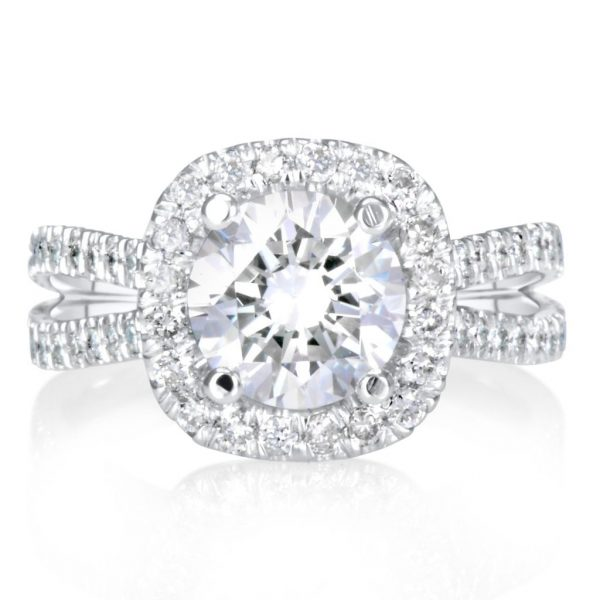 3 Ct Round Cut EVs2 Diamond Solitaire Engagement Ring 14K White Gold 3