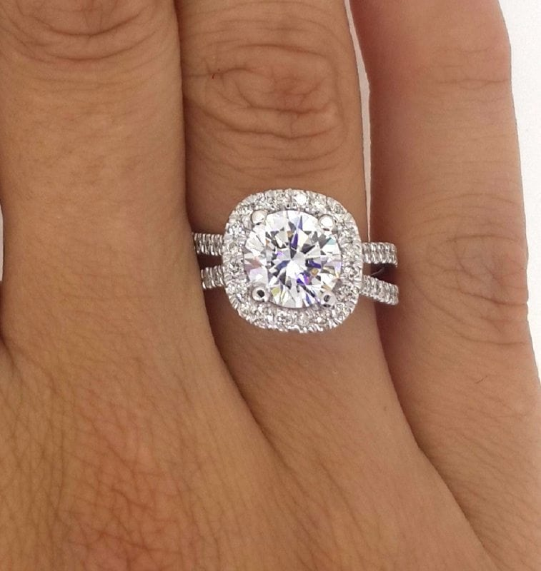 3 Ct Round Cut EVs2 Diamond Solitaire Engagement Ring 14K White Gold