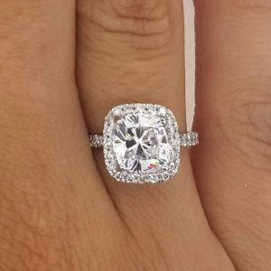 3.00 Ct Cushion Cut D/Vs2 Diamond Solitaire Engagement Ring 18K White Gold