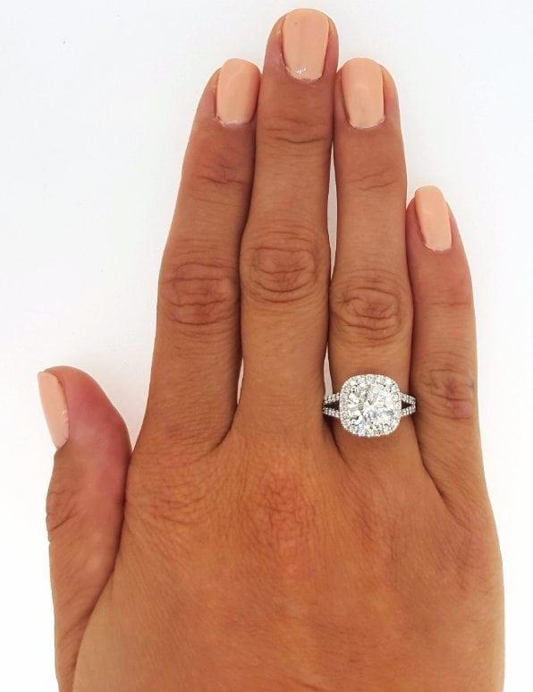 3.5 Carat Round Cut Diamond Engagement Ring 14K White Gold 3
