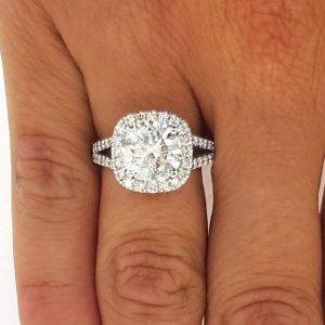 3.5 Carat Round Cut Diamond Engagement Ring 14K White Gold