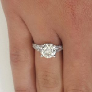 3.5 Carat Round Cut Diamond Engagement Ring 18K White Gold