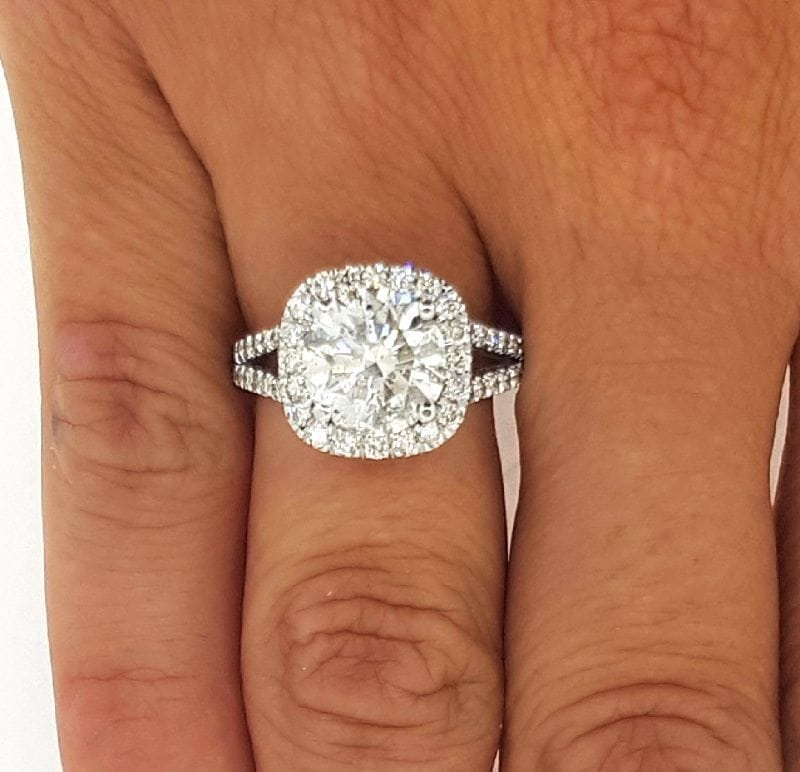 3.50 Ct Round Cut Cushion Halo Diamond Engagement Ring 14K White Gold 2nd
