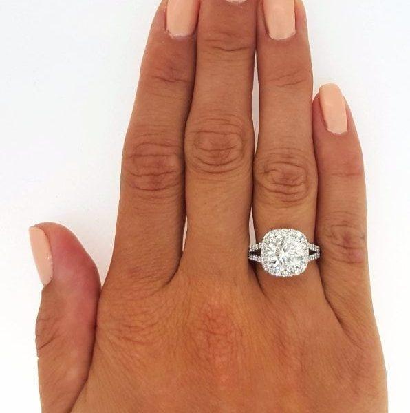 350 Ct Round Cut Cushion Halo Diamond Engagement Ring