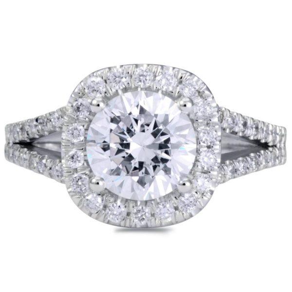3.6 Carat Round Cut Diamond Engagement Ring 14K White Gold 2