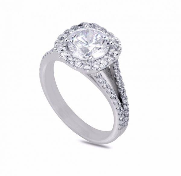 3.6 Carat Round Cut Diamond Engagement Ring 14K White Gold