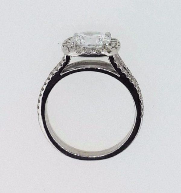 3.6 Carat Round Cut Diamond Engagement Ring 14K White Gold 4