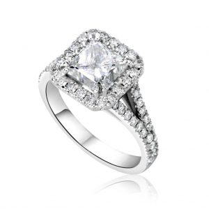 4 Carat Princess Cut Diamond Engagement Ring 14K White Gold