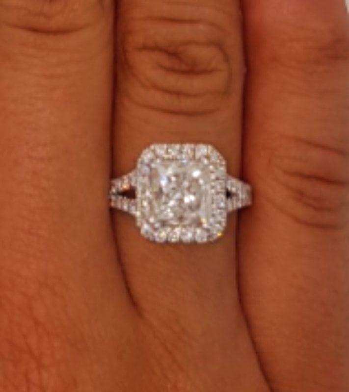4 Carat Princess Cut Diamond Engagement Ring 14K White Gold 4