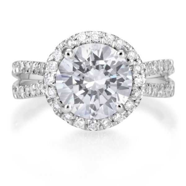 4.25 Carat Round Cut Diamond Engagement Ring 18K White Gold