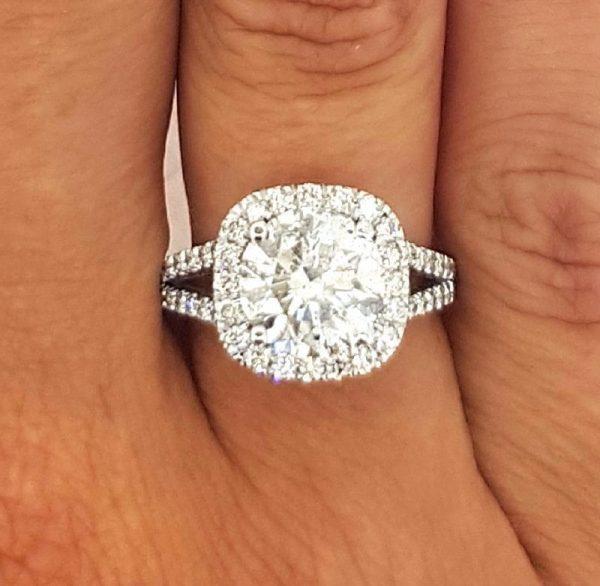 4.5 Carat Round Cut Diamond Engagement Ring 14K White Gold