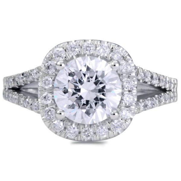 4.50 Ct Round Cut DVs1 Halo Diamond Engagement Ring Enhanced 14K White Gold 4