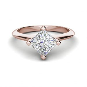 4 Prong 2 Carat VS2 Clarity H Color Princess Cut Diamond Engagement Ring Rose Gold 3