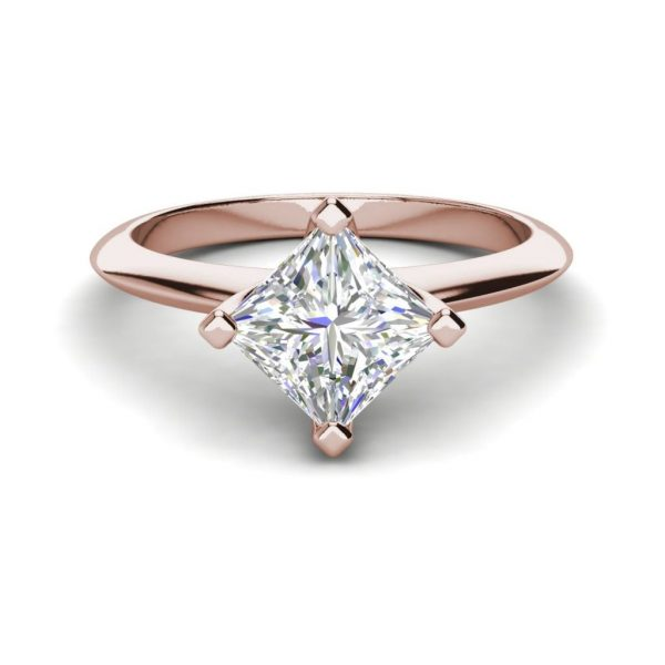 4 Prong 2 Carat VS2 Clarity H Color Princess Cut Diamond Engagement Ring Rose Gold 3