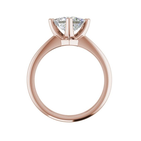 4 Prong 3 Carat SI1 Clarity D Color Princess Cut Diamond Engagement Ring Rose Gold 2