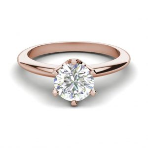 6 Prong Solitaire 1.5 Carat VS2 Clarity D Color Round Cut Diamond Engagement Ring Rose Gold 3