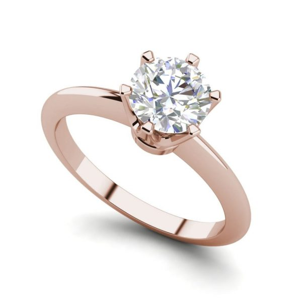 6 Prong Solitaire 1.5 Carat VS2 Clarity D Color Round Cut Diamond Engagement Ring Rose Gold